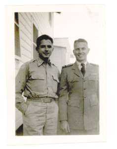 David Thaler (left) with a comrade from his army days. Circa 1940s.
